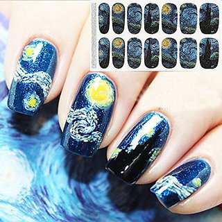 Bluezoo Full Nail Art Sticker Van Goghs Starry Night Fullnail Stickers,14 Decals/sheet (Pack of 2 Sheets)