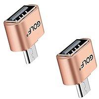 Joyshare Micro USB OTG To USB Adapter - Micro USB Male OTG To USB Female Adapter - Gold - Pack Of 2