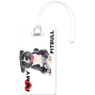 Rikki Knight I Love My Pitbull Dog Design Flexi Luggage Tags, White