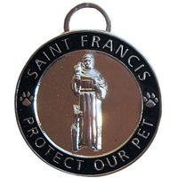 Luxepets Pet Collar Charm, Saint Francis Of Assisi, Small, Black