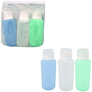 Bags for LessTM Air Travel Silicone Travel Bottles with Clear Case