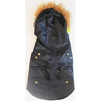 Fetchwear Medium Dog Cover Black With Gold Lining And Brown Fur On Hood