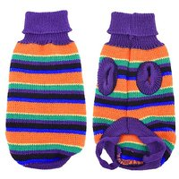 Uxcell Size 8 Knitted Striped Turtleneck Pet Dog Yorkie Sweater, X-Small, Purple/Orange