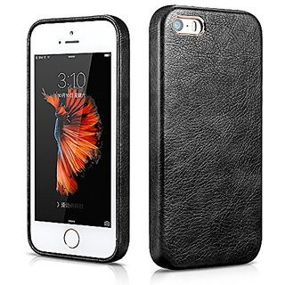 iPhone SE Leather Case, Xoomz Premium Synthetic PU Leather Back Cover Artificial Leather Snap Case with Gold-plated Desi