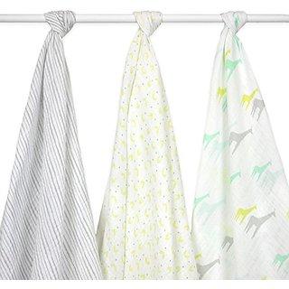 Just Born 3-Pack Muslin Blankets Giraffes, Green/Grey/White
