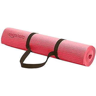 AmazonBasics 1/4-Inch Yoga and Exercise Mat with Carrying Strap, Pink