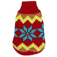 Uxcell XX-Small Ribbed Cuff Pet Knitwear Apparel Sweater, Size 6, Red/Yellow/Blue