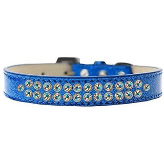 Mirage Pet Products Two Row AB Crystal Blue Ice Cream Dog Collar, Size 20