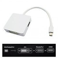 SNDIA MINI DISPLAY PORT MALE TO HDMI FEMALE + DISPLAY PORT FEMALE + DVI-I Dual Link FEMALE (24+5) ADAPTOR - WHITE