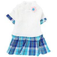 Uxcell X-Small Plaid Pattern Pet Dog Knitwear Sweater Dress Skirt Apparel, Size 8, White