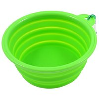 Uxcell Soft Silicone Folding Household Pet Puppy Dog Cat Water Bowl, Green