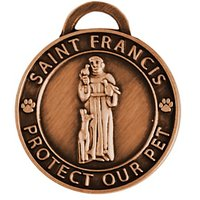 Luxepets Pet Collar Charm, Saint Francis Of Assisi, Large, Antique Copper
