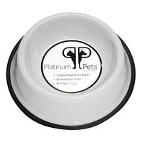 Platinum Pets 3 Cup Non-Embossed Non-Tip Dog Bowl, White