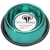 Platinum Pets 2 Cup Non-Embossed Non-Tip Dog Bowl, Teal