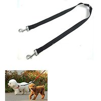 "Dual Dog Leash No Tangle Double Dog Leash Coupler For 2 Dogs- 16"" Black,2 Way Dog Coupler"