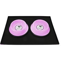 Platinum Pets Heavy Duty Silicone Puppy Mat With 2 1-Cup Embossed Puppy Bowls, Cotton Candy Pink