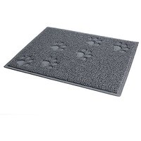 PetCee Dog Anti-slip Food Bowl Mat Dog PVC Placemat (Grey,S,11.8x15.8 Inch)