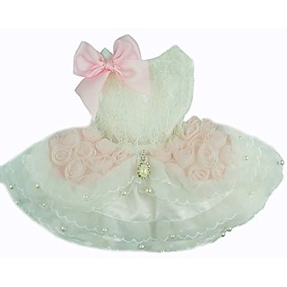 Fitwarm High Quality Luxury Pink Rose Dog Wedding Dress Tutu Pet Bride Clothes Apparel, Medium