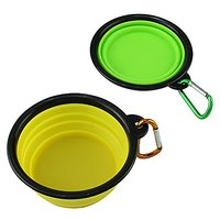 Mewtogo Collapsible Food Grade Silicone Dog Travel Bowl - Portable Feeding Container Pack Of 2 (yellow+green)