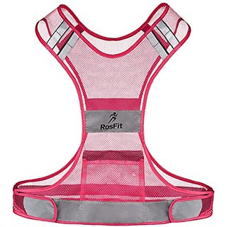 Pink Reflective Vest for Women & Ladies - Great for Running, Jogging, Walking, Hiking, Cycling - Includes Small Zipped P