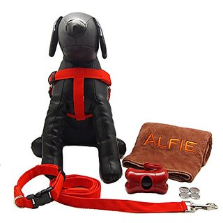 Alfie Pet by Petoga Couture - Jova LED Flashing Pet Safety Collar Harness and Leash Set with Microfiber Fast-Dry Towel a
