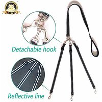 CatYou Three Way Dog Coupler Leash, Reflective, Adjustable Triple Dog Leash For One/Two/Three Dog Cats Pet, Tangle Free