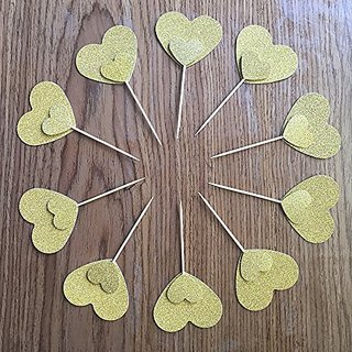DooXoo Double Sided Gold Heart Cake Topper Cupcake Topper Wedding Cupcake Toppers, Bridal Shower Cupcake Toppers Valenti