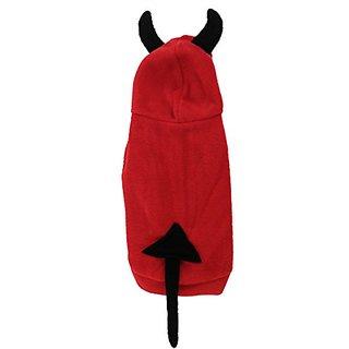 Pet Dog Yorkie Devil Design Hooded Apparel Cost Size L Black Red