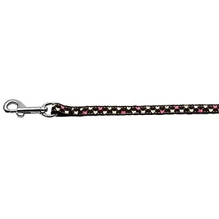 Mirage Pet Products Argyle Hearts Nylon Ribbon Leash for Pets, 3/8-Inch by 6-Feet, Brown