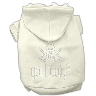 Mirage Pet Products 14-Inch Got Booty Rhinestone Hoodies, Large, Cream