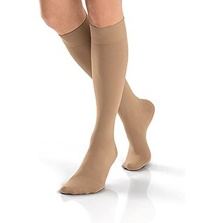 BSN Medical 115370 Jobst Opaque Compression Hose, Knee High, 30-40 mmHG, Closed Toe, Full Calf, Large, Natural