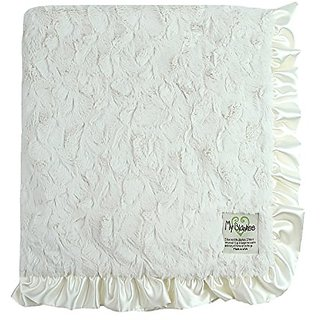 My Blankee Luxe Bella Blanket with Ruffle Border, Cream, 30