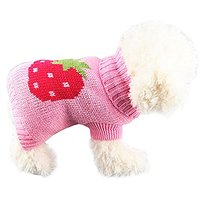 6d Pets Strawberry Pattern Winter Warm Sweater For Puppy Random Color(M)