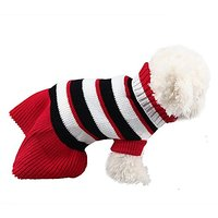6d Pets Winter Soft Sweater Stripes Sweater For Puppy And Kitten (black+white Stripes, S)