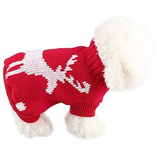 6d Christmas Reindeer Pattern Dog Sweater Cat Cloth (M)