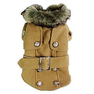 Pet Cat Dog Clothes European Woolen Fur Collar Coat Small Dog Cat Pet Clothes Costume Beige S