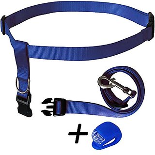 Running Dog Leash Hands Free - Including LED Light. Great for Walking, Running, Biking and Jogging (Blue).