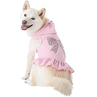 Petco Smoochie Pooch Pink Velour Dog Hoodie, Large