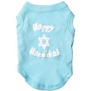 Mirage Pet Products 10-Inch Happy Hanukkah Screen Print Shirts for Pets, Small, Aqua
