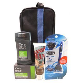 Mens Premium Skincare 5pc.Gift Set For Men,Schick Hydro 5 Disposable Razor 3 Count,Ultra Handy Man Skin Balm,Dove Men+Ca