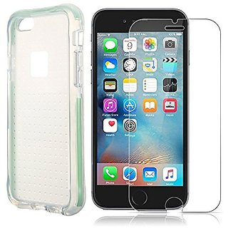Supnew Flexible Soft TPU/Extra Grip Case and Tempered Glass Screen Protector for iPhone 6/6S - Green