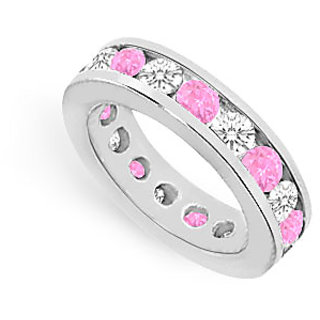 Elegant Pink Sapphire And CZ Eternity Bands Channel Set In 925 Sterling Silver