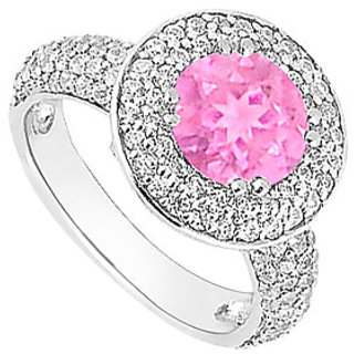 Appealing Pink Sapphire And Cubic Zirconia Halo Engagement Rings In 14kt White Gold