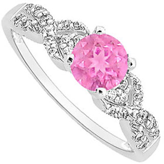 Dapper Pink Sapphire And CZ Engagement Ring With Wedding Band Set 14K White Gold