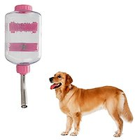 Dog Water Bottle, FATPET 900ML/30OZ Pet Chew Proof Water Dispenser No-Drip Pet Water Bottle For Large Big Dogs (Pink)