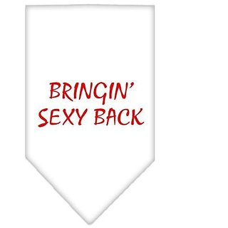 Mirage Pet Products Bringin Sexy Back Screen Print Bandana for Pets, Small, White