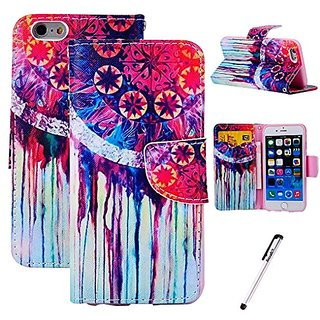 For iPhone 5 5S Luxury Soul Sacrifice Style PU Leather Stand Case Wallet Cover