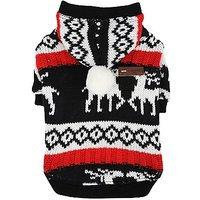 PUPPIA Authentic Comet Winter Hooded Knit Sweater For Pets, Small, Black