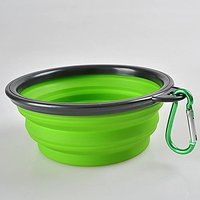 Pop-up Collapsible Pet Water Or Food Bowl With Carabiner Clip, The BEST For Hiking With Small To Medium Dogs; Portable N