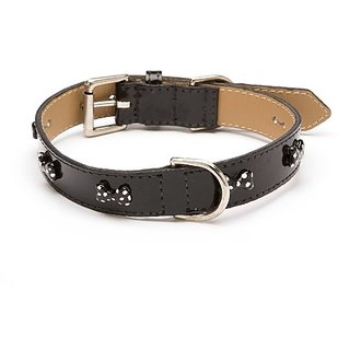LV Bone Dot Straight Dog Collar, Large Size 14-17, Black Patent with Black Enamel Bones